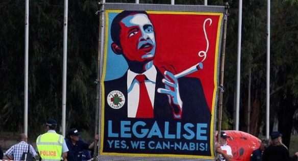 A poster of President Obama with the tagline 'Legalise, Yes, We Can-nabis!'